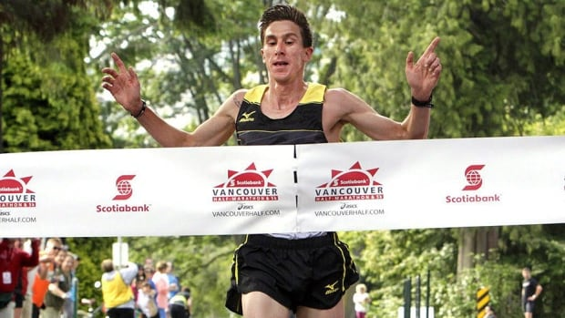 Dylan Wykes, seen here winning last year's Scotiabank Vancouver Half Marathon, is hopeful of returning to the Olympics next summer in Rio de Janeiro despite aggravating an injury to his posterior tibial tendon in his lower right leg that forced him to exit midway through Sunday's 42-kilometre Fukuoka International Open Marathon Championship in Japan. Wykes hopes to attempt the Olympic standard again in the spring.