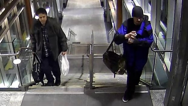 Calgary police released this and several other images of the two male suspects wanted in connection with anti-Muslim graffiti at the Tuscany LRT station in Calgary that has been classified as a hate crime.