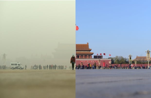 Tiananmen Square in the smog before and after Dec 1-3 2015