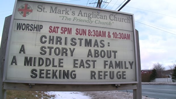 St. Mark's Anglican Church wants people to look at the Syrian refugee crisis through a new perspective and is hoping its new sign will help.