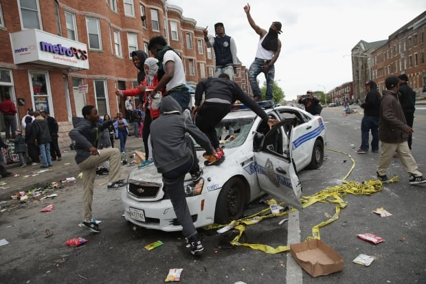 YIP Baltimore Police car trashed April 27 2015 Freddie Gray reaction riot