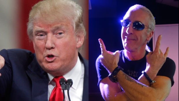 In this composite photo, Republican presidential candidate Donald Trump is seen at left speaking during a campaign stop Monday, Nov. 16, 2015, in Knoxville, Tenn., while Twister Sister frontman Dee Snider is seen at right in the CBC q studio in Toronto on Thursday, Dec. 9, 2015.
