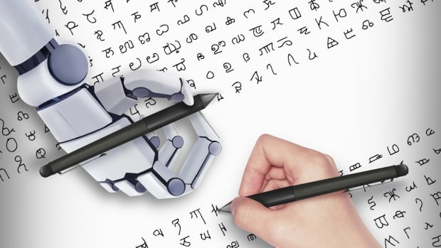 The U.S. and Canadian researchers have developed a computer program that teaches a computer to learn to recognize handwritten characters like letters of the alphabet and figure out how to write them (on a screen, however, and not with a robotic hand as shown in this illustration).