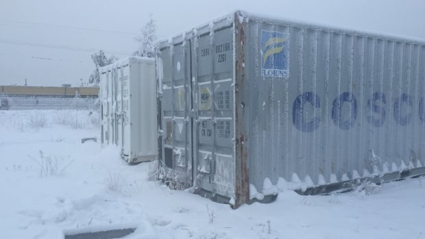 Callidus Capital alleges Deepak International said these steel shipping containers near the Yellowknife airport contained $18 million worth of new diamond cutting and polishing equipment. Callidus says they turned out to be 'full of junk:' used equipment left behind by the factories' former owners.