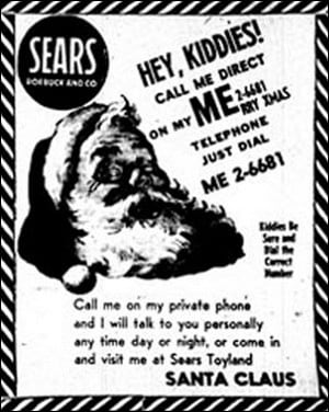 Sears Santa 1955 ad
