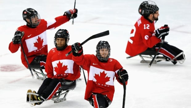 Canada, seen here celebrating their bronze medal win at the 2014 Paralympic Games, defeated Italy 7-1 in the finals of the International Ice Sledge Hockey Tournament.