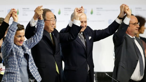 The climate agreement reached in Paris last weekend has been called everything from historic to useless. From left to right, UN climate chief Christiana Figueres, UN Secretary General Ban Ki-Moon, French Foreign Affairs Minister Laurent Fabius and French President François Hollande celebrate the accord during the final plenary session.