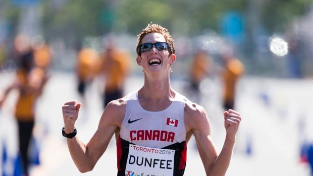 Canadian race walker Evan Dunfee lowered the national 50k mark by over four minutes in racing to victory at the Australian Road Walking Championships in Melbourne, Australia.