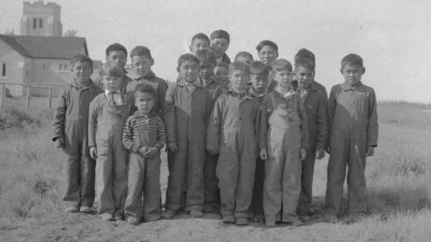 Inuit children stand outside a residential school in a photo released by the Truth and Reconciliation Commission along with its final report.