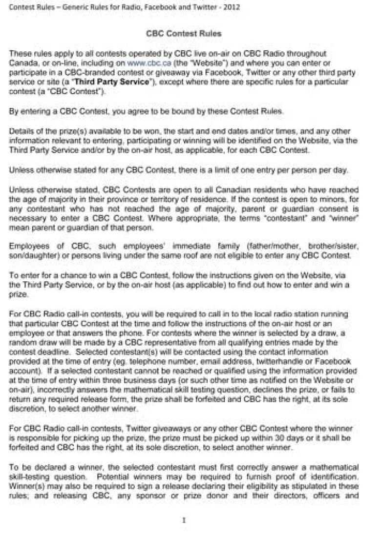 Generic CBC Contest Rules | CBC News