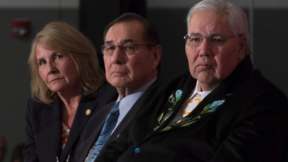 Commissioner Justice Murray Sinclair, Commissioner Chief Wilton Littlechild and Commissioner Marie Wilson (right to left) listen to a speaker as the final report of the Truth and Reconciliation commission is released, Dec. 15, 2015 in Ottawa.