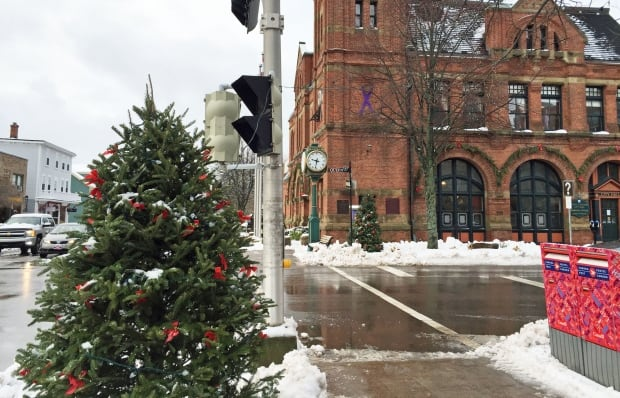 Charlottetown city hall at Christmas
