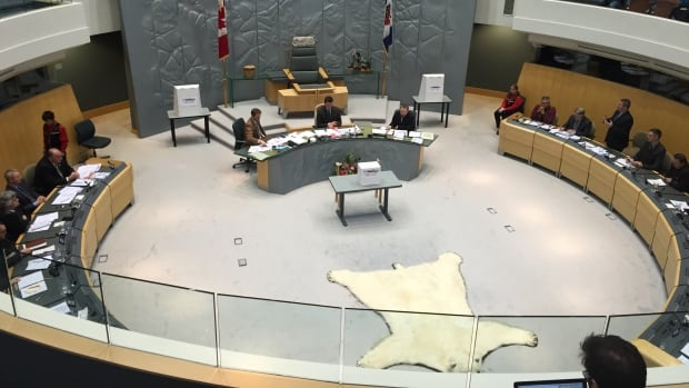 Voting screens and a ballot box stand at the ready in the N.W.T. legislative assembly chamber, awaiting the vote for premier.