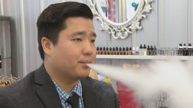 Aaron Lepcha, the owner of Kloud Panda, an e-cigarette supply company, says the province should allow vaping in e-cigarette stores. The government said Wednesday it has delayed its plans to ban vaping in public.
