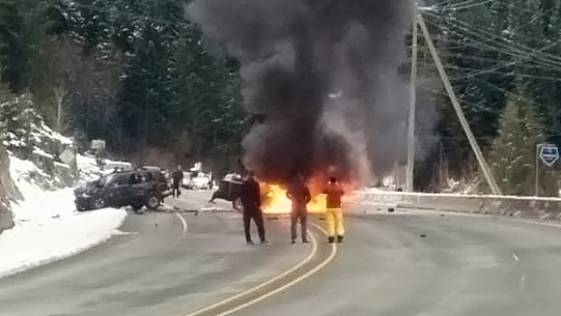 One person was killed when their pickup truck burst into flames following a head-on collision on the Sea-to-Sky highway south of Whistler, B.C., around 9 a.m. PT Thursday.