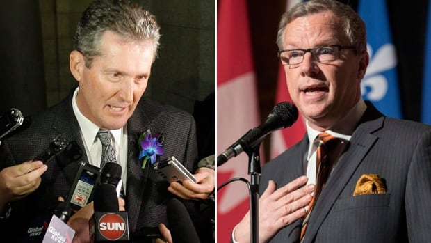 Manitoba Conservative and opposition leader Brian Pallister, left, and Saskatchewan Premier Brad Wall have the chance to reverse a string of electoral losses by conservative parties, when voters go to the polls in the two provinces in 2016.
