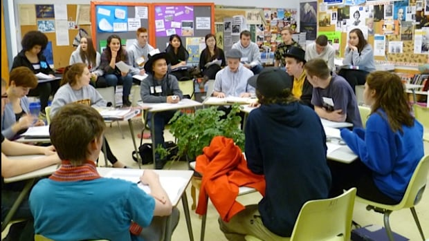 Grade 11 students at Winnipeg's Kelvin High School learn about Treaty 5 through role playing. Scenes like this are few and far between, Chelsea Vowel writes.