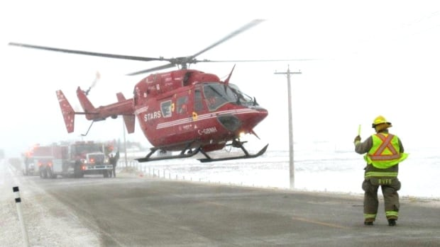 STARS takes off from the scene of a crash east of Airdrie the caused a 68-year-old man to have serious yet non-life threatening injuries. Highway 567 at Range Road 284 was shut down for about two hours while crews worked on the scene.