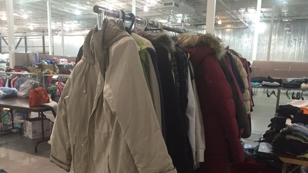 The Emergency Management Office says the goal is to give the drop-off centre the feeling of a store, so it becomes a space where refugees can choose their items with dignity.
