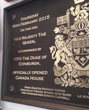 Canada House bronze plaque, Feb. 19, 2015