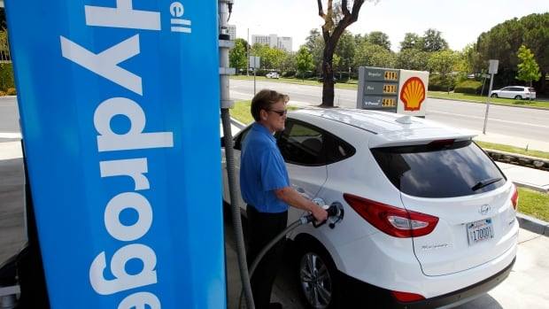 A Hyundai Tucson tanks up with hydrogen. Increasing use of fuel cell vehicles will be good for natural gas sales, especially as researchers develop low carbon methods of extracting hydrogen from methane.
