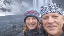 Backroads Bill Steer and daughter Ali at a waterfall in Iceland
