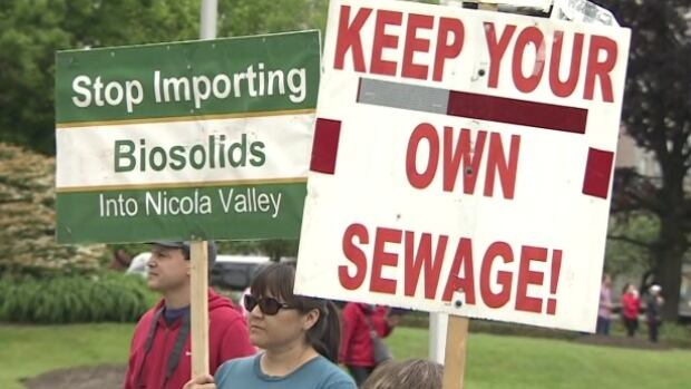 Protesters gathered at the B.C. Legislature May 25 to call on the government to stop importing sewage sludge shipped from the Lower Mainland and the Okanagan into their ancestral lands in the Nicola Valley.