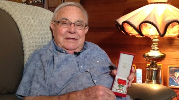 Edward Fletcher, of Coquitlam, B.C., shows his Legion of Honour, France's highest national honour, awarded by the French government for his service in France during the Second World War.