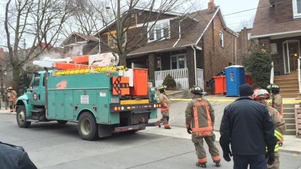 Toronto Fire says ten trucks and 45 firefighters were sent to the building and the other half of the semi-unit was evacuated.