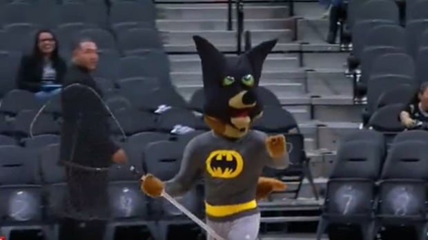 San Antonio Spurs mascot The Coyote knew just what to do when a bat made its way into the AT&T Center during the pre-game in San Antonio, Texas on Monday.