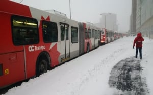 Ottawa winter storm Dec 29 2015 OC Transpo Transitway backed up downtown