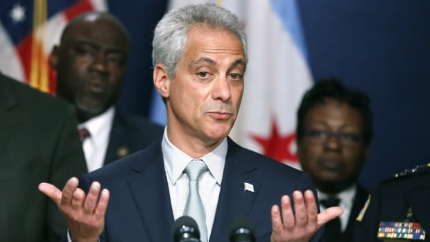 Chicago Mayor Rahm Emanuel responds to a question during a news conference on Wednesday about new police procedures he is instituting.