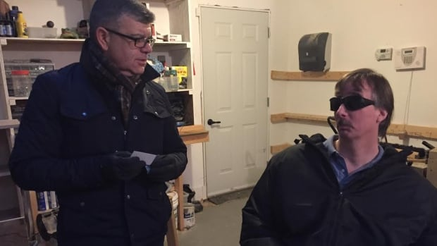 Since CBC News shared the struggle by Mike Hambly (right) to find accessible housing last October, good Samaritan Andre Mamprin has come forward to help.