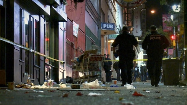 Police look at evidence at a crime scene on Vancouver's Downtown Eastside.