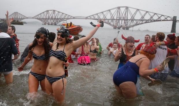 Unusual NYE celebrations Scottish Loony Dook Jan 1 2015