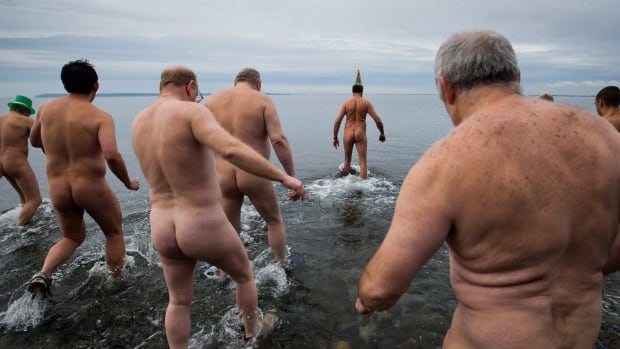 In the True North Strong and Free, the Polar Bare Pluge has become a New Year's tradition. Here, a group of hardy men plunge into the icy waters of Boundary Bay, off Crescent Beach, in Surrey, B.C., on Jan. 1, 2014.