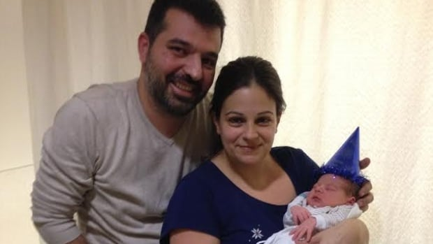 Constantinos Koukoutsis, with parents Pantelis Koukoutsis and Joanne Rozakis, was Montreal's first baby of 2016.