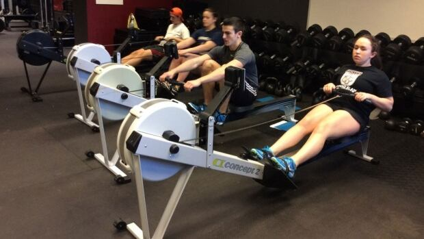 The rowing team will log their kilometres on indoor rowing machines.