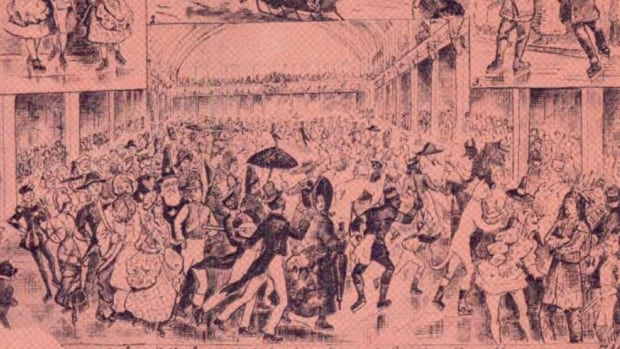 Skaters fill Canada's first permanent covered skating rink at Halifax skating carnival in 1880.
