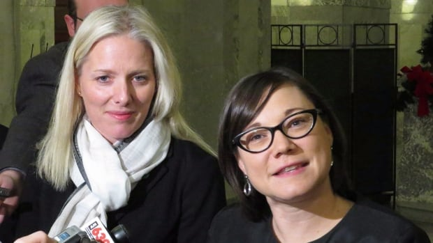 Environment Minister Shannon Phillips (right), shown here with her federal counterpart Catherine McKenna, says Alberta must be carbon-competitive with respect to its energy resources.