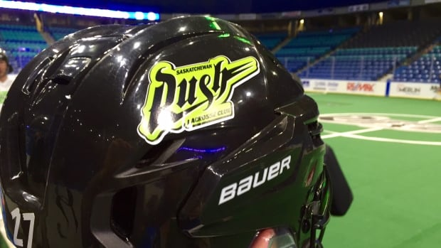 A Saskatchewan Rush player at practice in Saskatoon.