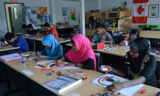 Surrey refugee bridge art class