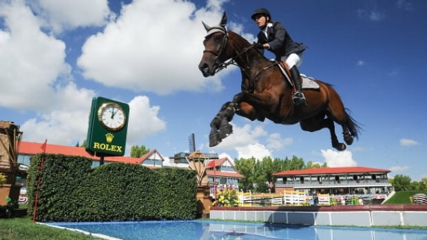 Venezuela's Andres Rodriguez shown competing at Spruce Meadows. The rider has since passed away.