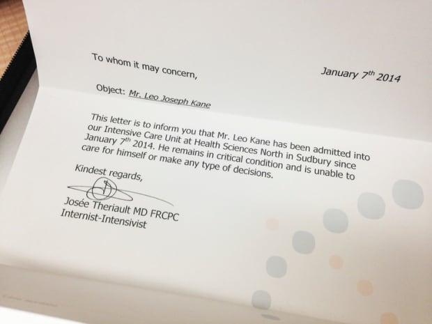Pat Kane - physician's letter