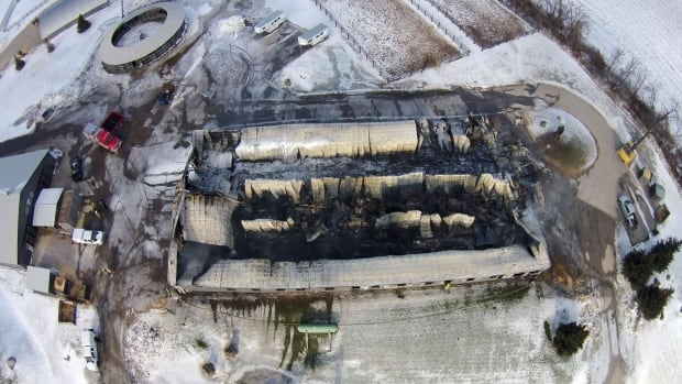 An aerial shot of the aftermath of the barn fire at Classy Lane Stables in Puslinch, Ont.