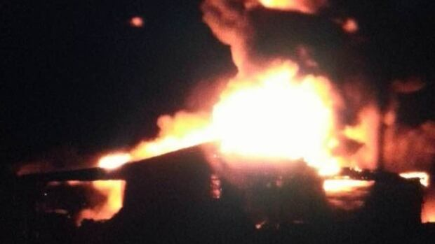 Barn fire in Leamington Tuesday night.