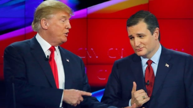 Republican U.S. presidential candidate businessman Donald Trump, left, and Texas Senator Ted Cruz are shown during a commercial break of the most recent Republican presidential debate, on Dec. 15.