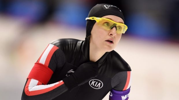 Winnipeg's Heather McLean, shown at a World Cup event in Germany earlier this season, won her second and third speed skating titles at the Canadian single distances long track championships in Calgary Tuesday.