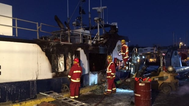 Fire crews battled the flames from both outside and inside the vessel to put the fire out.