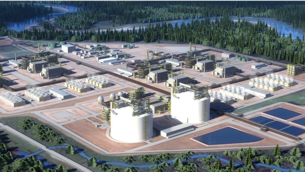 This rendering of the proposed project shows two of the LNG trains.  The final investment decision from Shell has been delayed until the end of 2016.